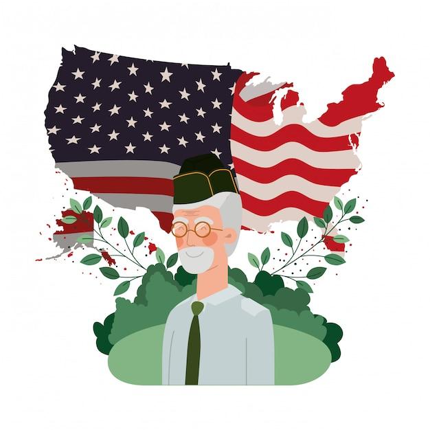 Alter mann des veteranenkrieges mit flagge der landschaft und der vereinigten staaten Premium Vektoren