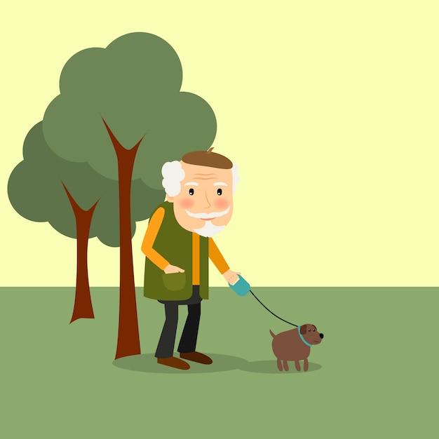 Alter mann mit hund im park Premium Vektoren