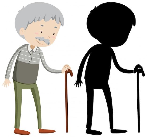 Alter mann mit seiner silhouette Kostenlosen Vektoren