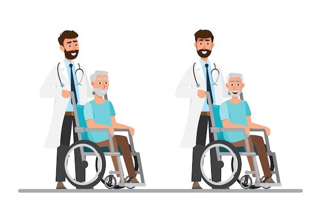 Alter mann sitzen im rollstuhl mit arzt kümmern Premium Vektoren