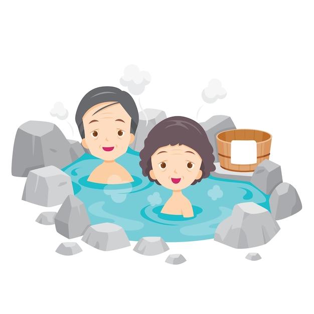Alter mann und frau, die im japanischen onsen, thermalbad entspannen Premium Vektoren