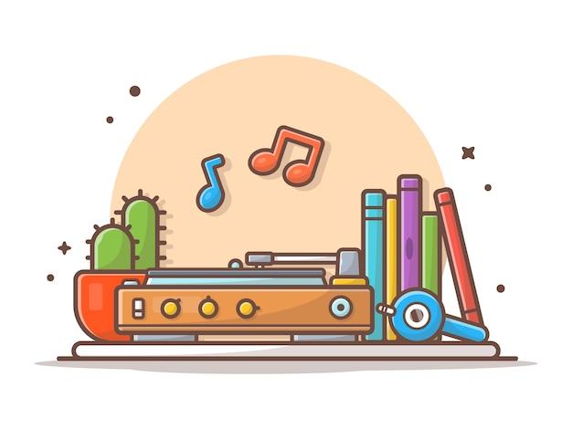 Alter musik-spieler mit dem grammophon, kopfhörer, kaktus, büchern und vinylmusik-ikonen-illustrations-weiß lokalisiert Premium Vektoren