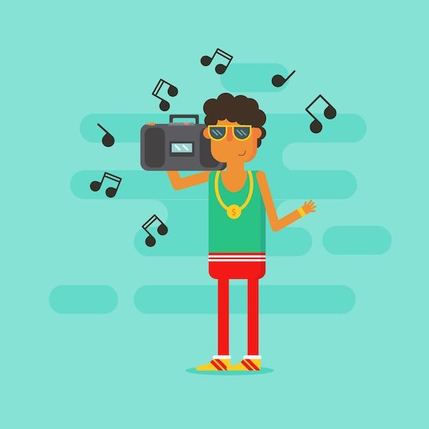 Alter schulmann hörender radio mit stil Premium Vektoren