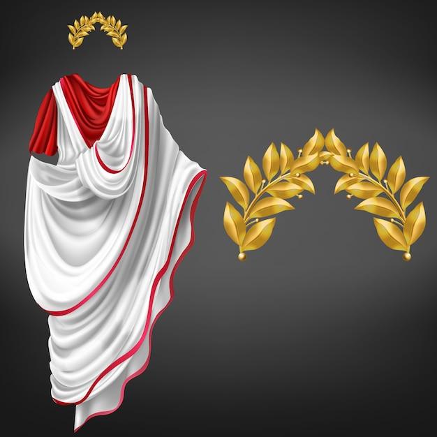 Alter weißer toga auf dem roten kittel und goldenem realistischem vektor des lorbeerkranzes 3d lokalisiert. kaiser des römischen reiches, glorreicher staatsbürger der republik, berühmte philosophenkleidung, triumphsymbol Kostenlosen Vektoren