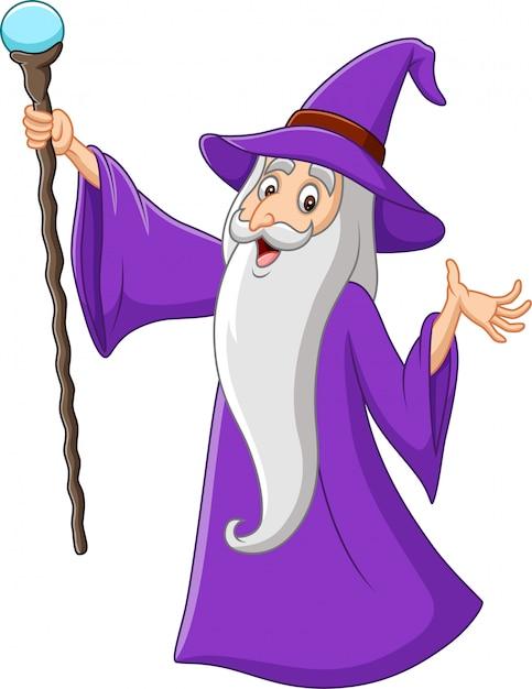 Alter zauberer der karikatur, der magischen stock hält Premium Vektoren