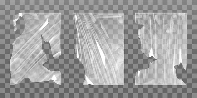 Alter zellophan-stretchfilm mit gerissenen kanten Kostenlosen Vektoren