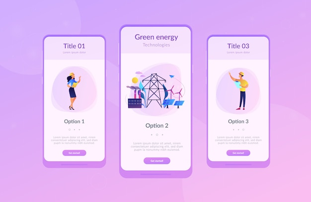 Alternative energie app interface-vorlage. Premium Vektoren