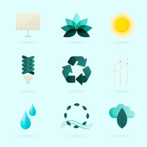 Alternative energie symbole vektor gesetzt Kostenlosen Vektoren