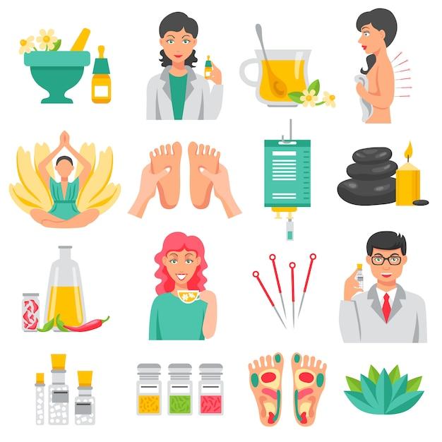 Alternative medizin icons set Kostenlosen Vektoren