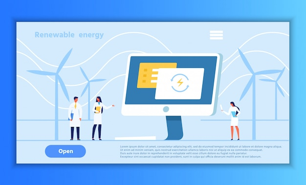 Alternative renewable energy presentation webpage Premium Vektoren
