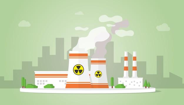 Alternative zu kernkraftwerkstechnologie mit großem reaktorgebäude auf dem stadtgebiet Premium Vektoren