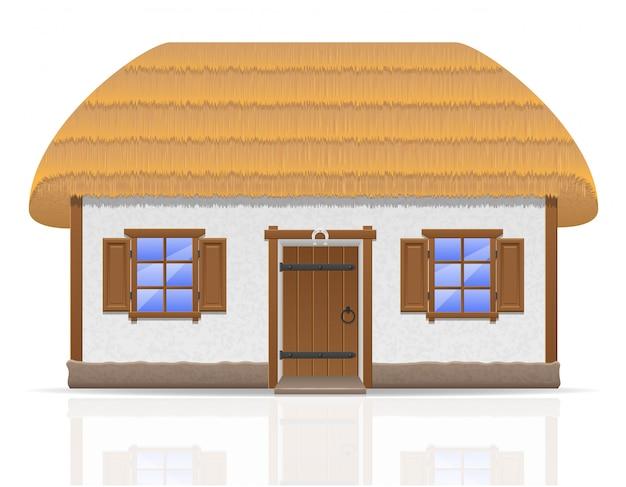 Altes bauernhaus mit einer strohdachvektorillustration Premium Vektoren