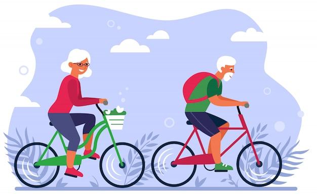 Altes ehepaar auf fahrrädern im park Kostenlosen Vektoren
