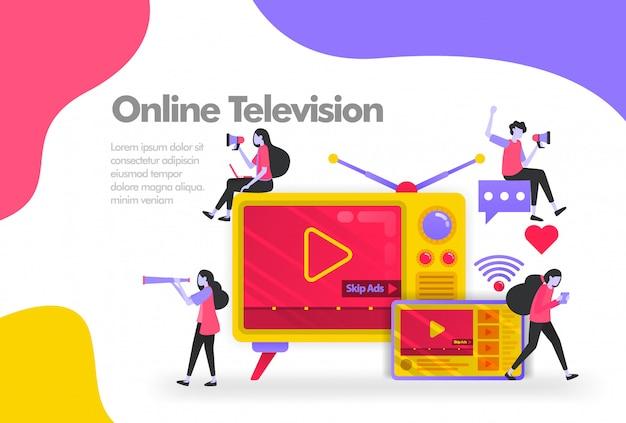 Altes fernsehen mit tablets und videos banner Premium Vektoren