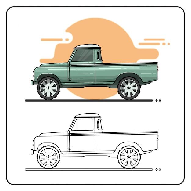 Altes lkw-pickup-auto einfach bearbeitbar Premium Vektoren