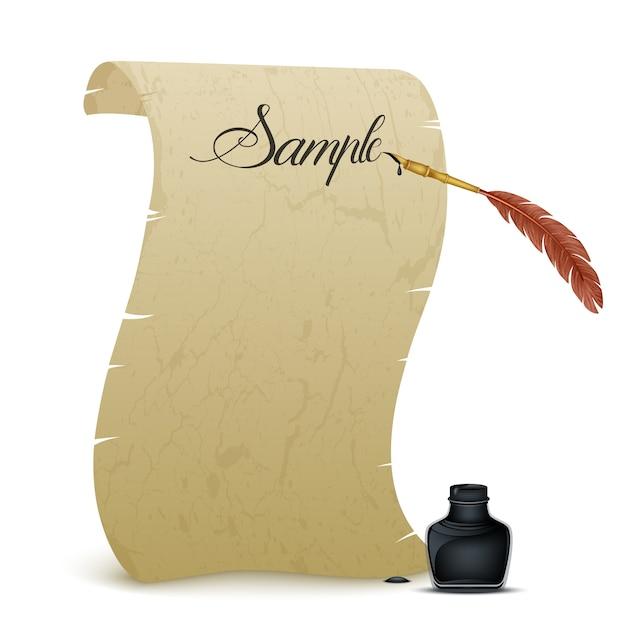 Altes pergament mit feder und tintenfass Premium Vektoren