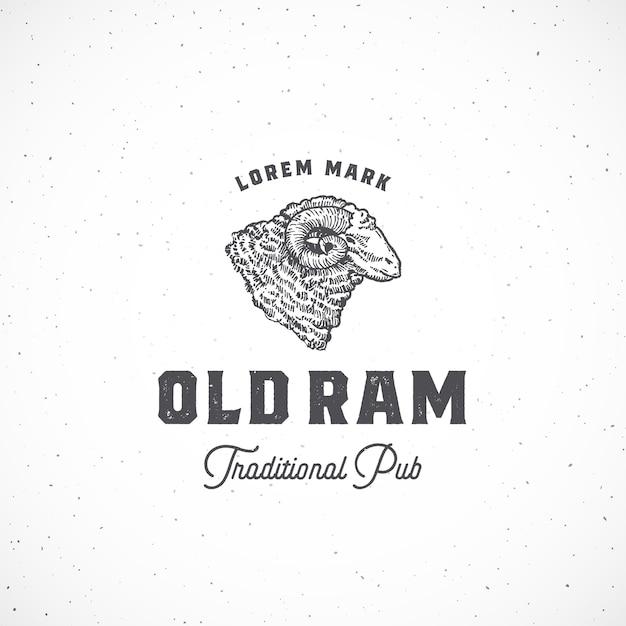 Altes ram pub abstraktes zeichen, symbol oder logo-vorlage. Kostenlosen Vektoren