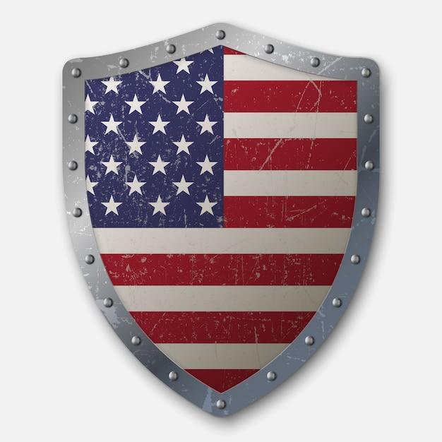 Altes schild mit flagge der vereinigten staaten Premium Vektoren
