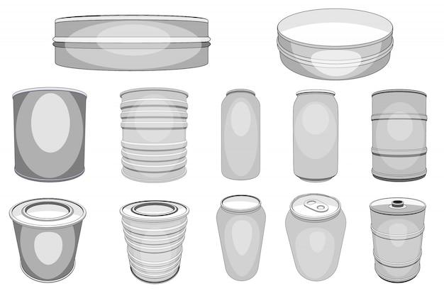 Aluminiumdose aluminiumdose für sodagetränke oder alkoholbier und leeres metallflaschen- oder aluminiumbehälterset Premium Vektoren