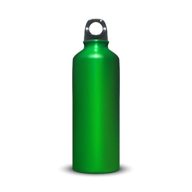 Aluminiumflaschenillustration des aluminiumwasserbehälters des sports mit plastikringstopfen. Kostenlosen Vektoren