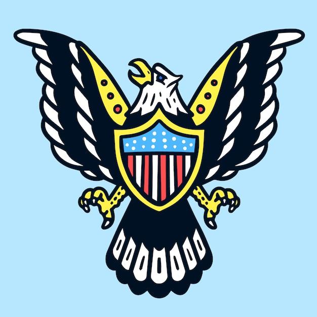 American eagle old school tätowierung Premium Vektoren