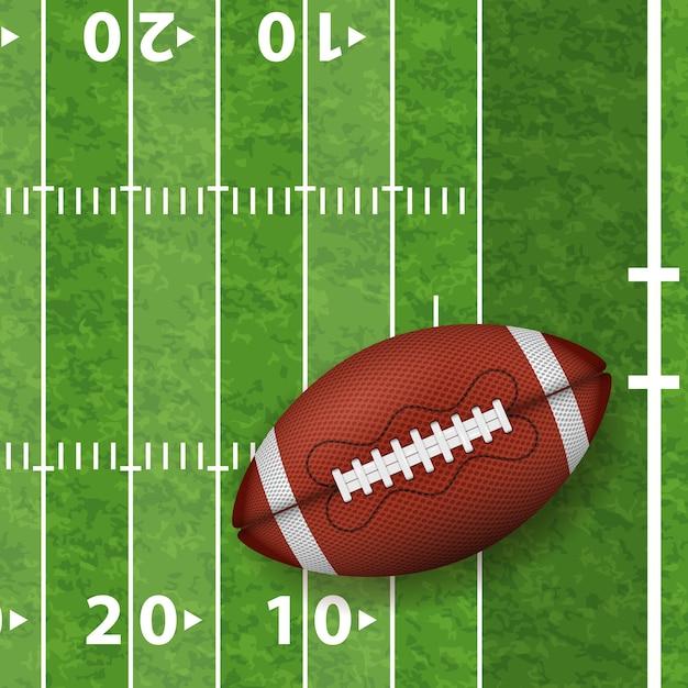 American football field mit realistischer ball-, linien- und grasstruktur. vorderansicht amerikanischer rugbyball. Premium Vektoren