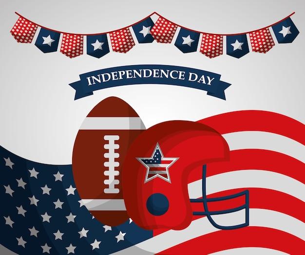 American football helm ball wimpel flagge unabhängigkeitstag Premium Vektoren