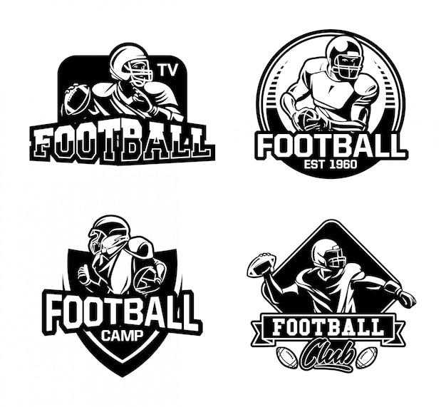 American football league abzeichen sammlung in schwarz und weiß Premium Vektoren