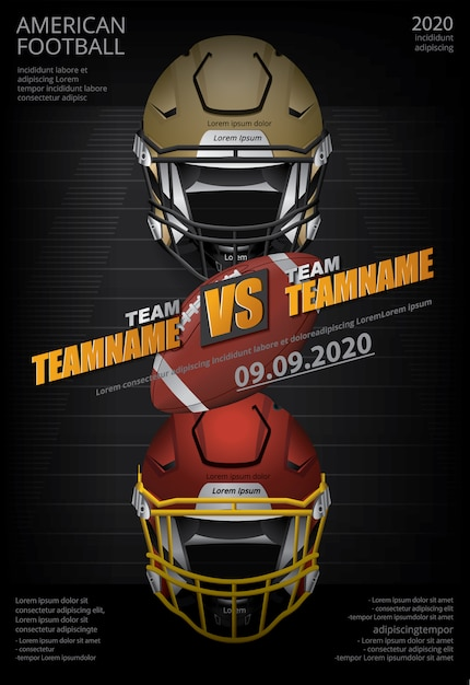 American football poster illustration Premium Vektoren