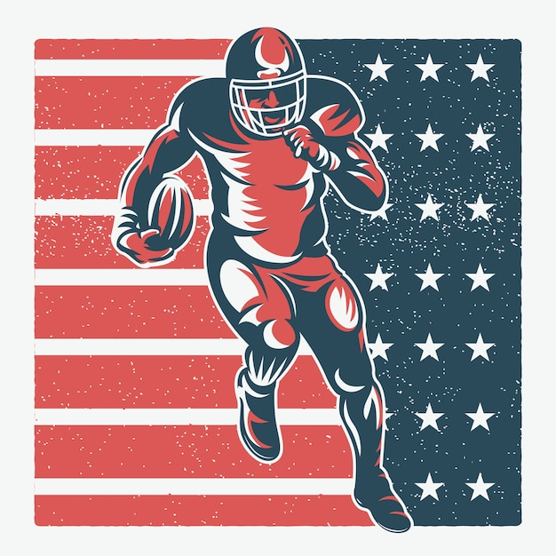 American football spieler illustration Premium Vektoren