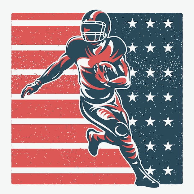American football spieler illustration Premium Vektoren