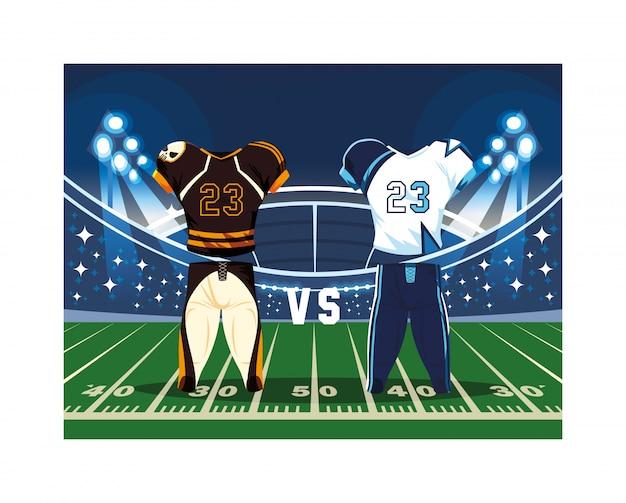American football spieler outfit sportanzug, Premium Vektoren