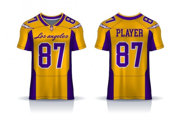 American football-trikot, t-shirt sport-design-vorlage. einheitliche vorder- und rückansicht. Premium Vektoren
