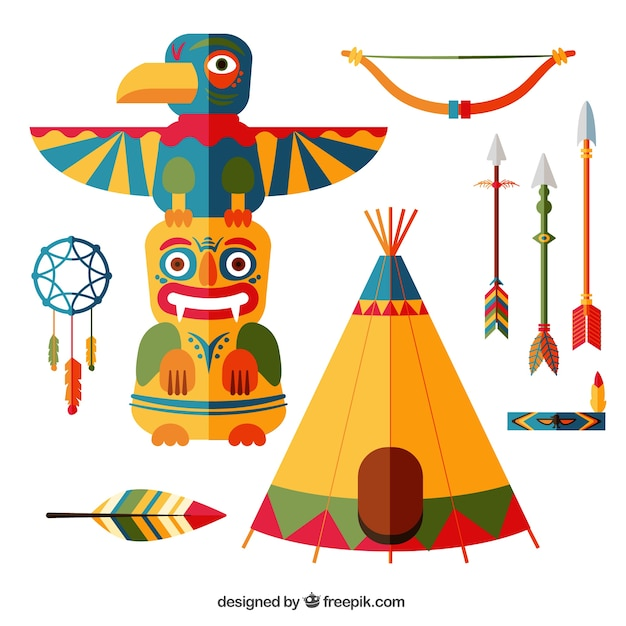 American indian set Kostenlosen Vektoren