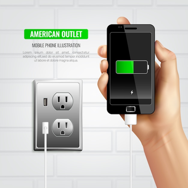 American outlet handy zusammensetzung Kostenlosen Vektoren