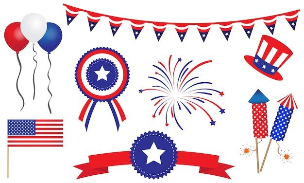 American united states juli 4. abzeichen banner Premium Vektoren