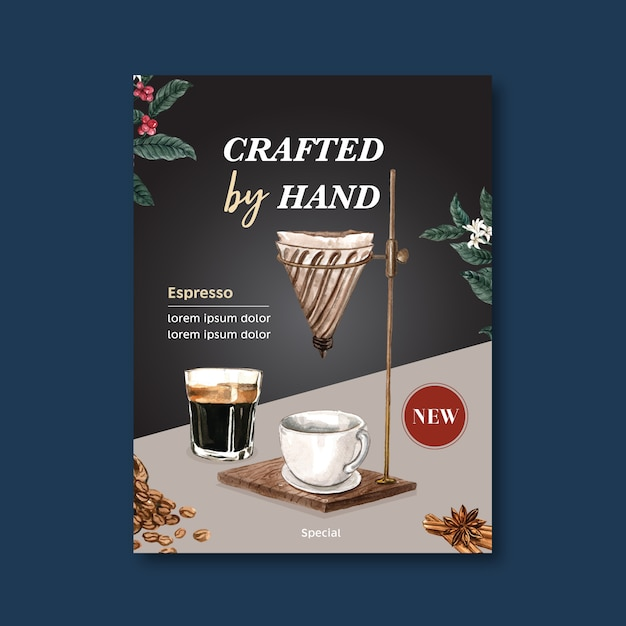 Americano, cappuccino-kaffeeplakatrabatt, schablone modern, aquarellillustration Kostenlosen Vektoren