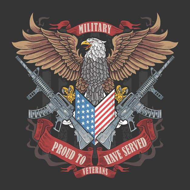 Amerika-adler-usa-flagge und waffen-kunstwerk für veterans-tag, gedenktag und unabhängigkeitstag Premium Vektoren