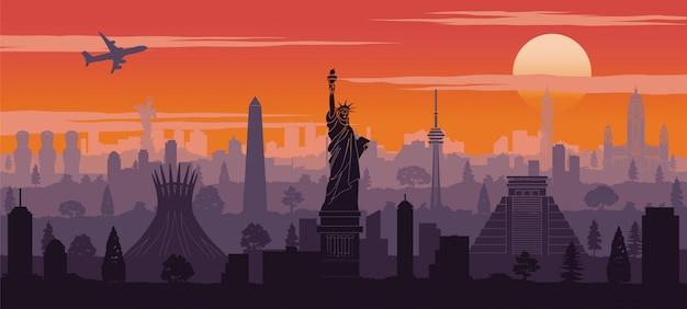 Amerika berühmten wahrzeichen silhouette stil Premium Vektoren