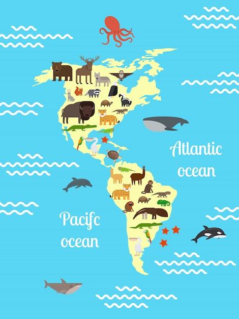 Amerika-tierweltkarte für kinder Premium Vektoren