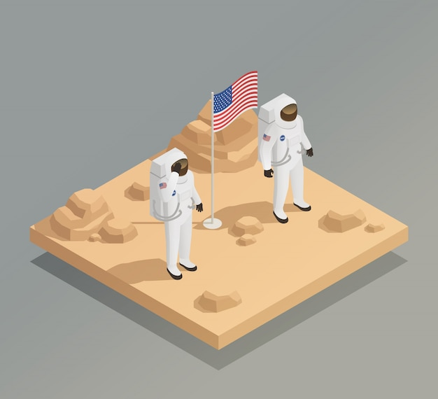 Amerikanische astronauten isometrische zusammensetzung Kostenlosen Vektoren