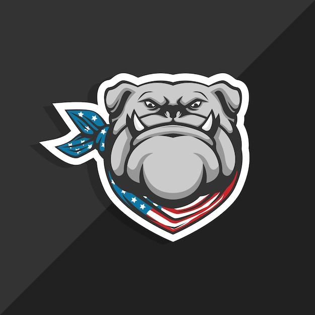 Amerikanische bulldogge flagge bandana. maskottchen-logo. Premium Vektoren