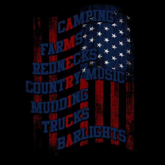 Amerikanische flagge mit typografie und grunge-stil Premium Vektoren
