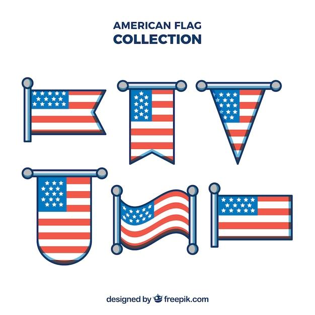 Amerikanische Flagge Sammlung mit verschiedenen Formen Kostenlose Vektoren