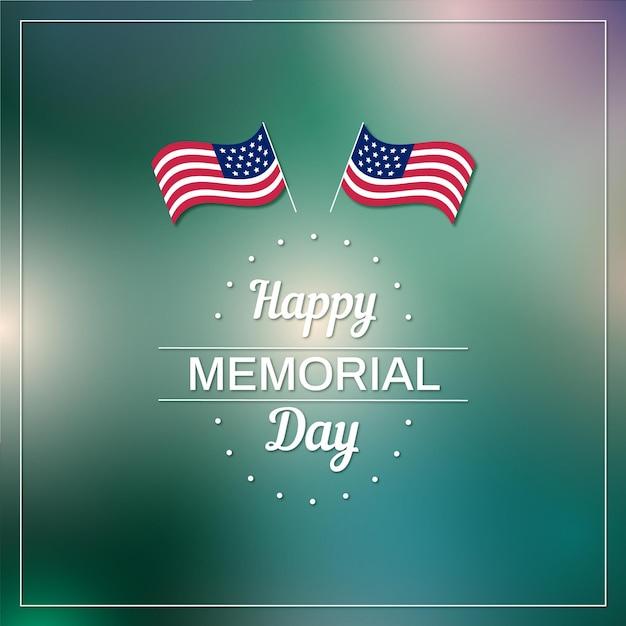 Amerikanische flaggen verwischten glücklichen gedenktag Kostenlosen Vektoren