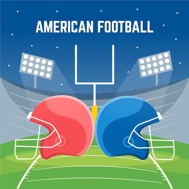 Amerikanische fußballillustration des flachen entwurfs Kostenlosen Vektoren