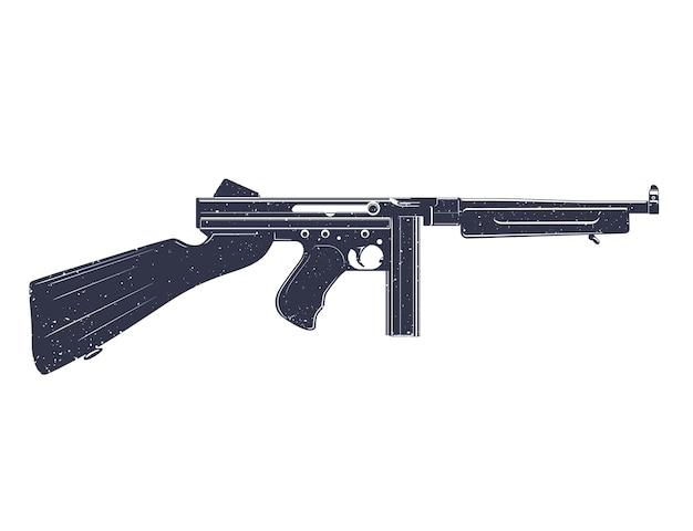Amerikanische maschinenpistole über weißer grunge-textur kann leicht entfernt werden Premium Vektoren