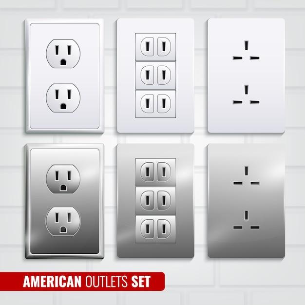 Amerikanische steckdosen set Kostenlosen Vektoren