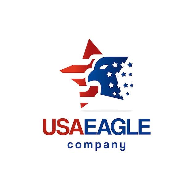 Amerikanischer adlerstern-flaggenlogoentwurf Premium Vektoren