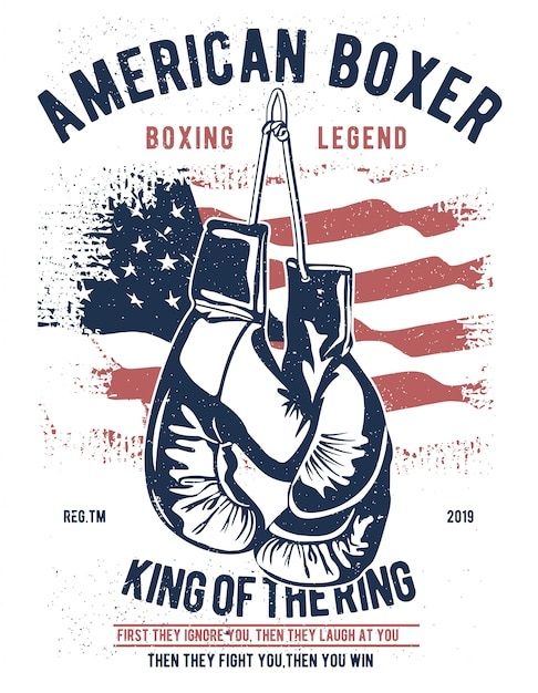 Amerikanischer boxer Premium Vektoren